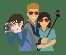 site de montage vidéo - 3 pers photographe, selfie