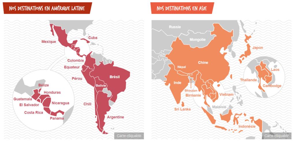 carte Amérique latine Asie - Altiplano voyage